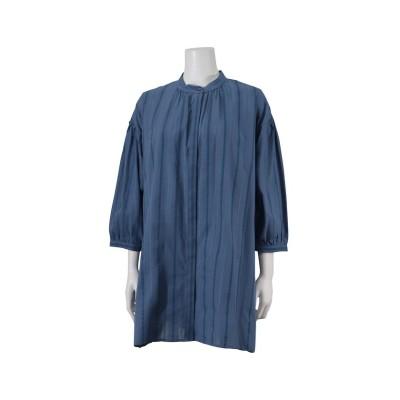 【ミゼール】 ステッチストライプロングシャツ レディース ブルー L MISSEL