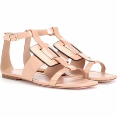ロジェ ヴィヴィエ Roger Vivier レディース サンダル・ミュール シューズ・靴 viv sellier patent leather sandals Rosa Salmone/Nero