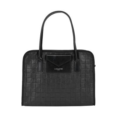 ランカスター LANCASTER ハンドバッグ ブラック 紡績繊維 / 柔らかめの牛革 ハンドバッグ