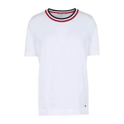 YOOX - トミーヒルフィガー TOMMY HILFIGER T シャツ ホワイト XS オーガニックコットン 100% T シャツ