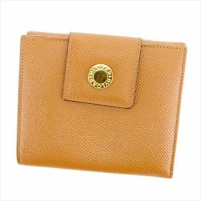 【P10倍】 【ラスト1点】 ブルガリ Wホック財布 二つ折り 財布 ブルガリブルガリ ライトブラウン ゴールド PVC×レザー BVLGARI ホックサ