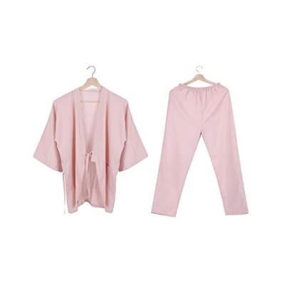 パジャマ 甚平 浴衣 レディース メンズ 上下セット 綿 二重 ガーゼ 肌触り 無地 前開き 寝巻き ルームウェア 作