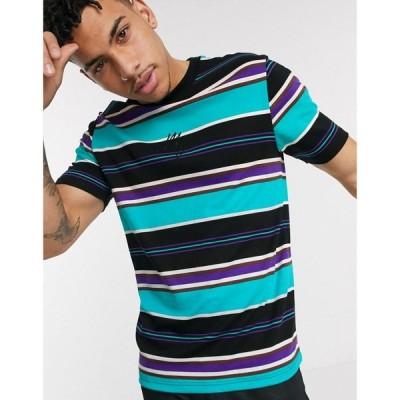 リバーアイランド River Island メンズ Tシャツ トップス Maison Riviera slim fit t-shirt with horizontal stripes in green グリーン