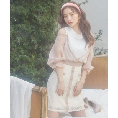 MIIA / 配色レースミニスカート WOMEN スカート > スカート