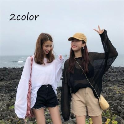 カットソー シースルー トップス 長袖 薄手 透け感 無地 シンプル Tシャツ ロンT ビッグシルエット 海 ビーチ レジャー