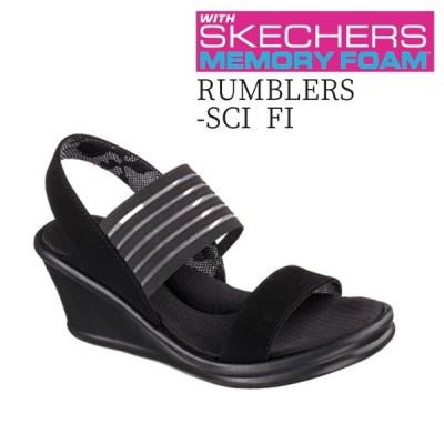 スケッチャーズ SKECHERS Rumblers - Sci Fi 38472 BBK(ブラック) ウィメンズ 厚底サンダル ミュール バックベルト