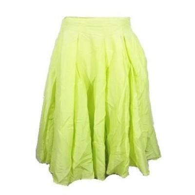 【中古】デミルクス ビームス Demi-Luxe BEAMS アンバリ AMBALI スカート フレア 膝丈 コットン シルク 38イエロー▽6