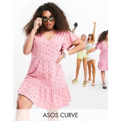 エイソス ASOS Curve レディース ワンピース Vネック ミニ丈 Curve Broderie V Neck Button Through Mini Dress With Pep Hem In Rose ローズ