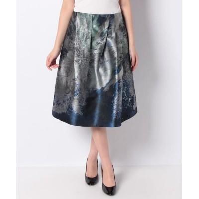 LAPINE BLANCHE/ラピーヌ ブランシュ NEON 花柄パネルジャカード スカート ネイビー 40