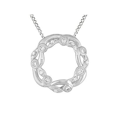 特別価格AFFY 56 Ct Round Brilliant Cut Cubic Zirconia Cable Pendant Necklace in 14K好評販売中