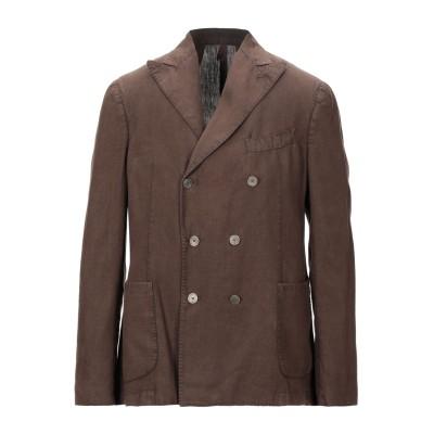 SANTANIELLO テーラードジャケット ダークブラウン 46 リネン 100% テーラードジャケット