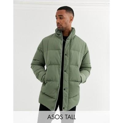 エイソス メンズ ジャケット・ブルゾン アウター ASOS DESIGN Tall sustainable puffer jacket in khaki with funnel neck