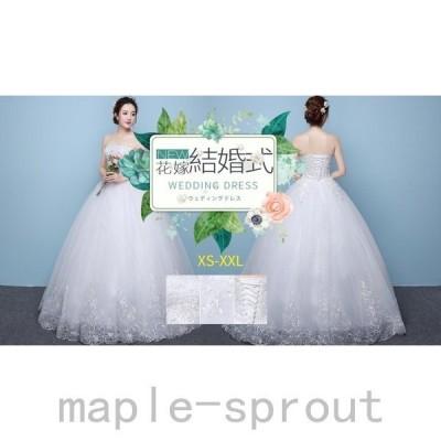 ウェディングドレス結婚式ドレスビスチェ花嫁披露宴ベール二次会衣装スレンダーレースロングドレス韓国風大きいサイズ白人気プリンセスドレス