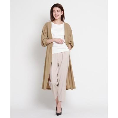 SunaUna(スーナウーナ) 【洗える】軽羽織ロングシャツ+刺繍Tシャツセット
