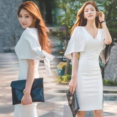 ホワイト ワンピース タイトドレス 韓国風 膝丈ワンピース 白 Vネック 夏ワンピース お呼ばれドレス  二次会 30代 40代 優雅 エレガント