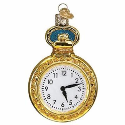 Old World Christmas 懐中時計 ガラスオーナメント 無料のボックス 32423(中古品)