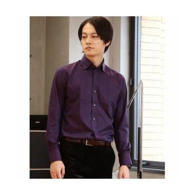 【メンズビギ】 スナップダウンカラーシャツ 1ヘリンボーン/23コットンマイクロドビー メンズ ワイン L Men's Bigi