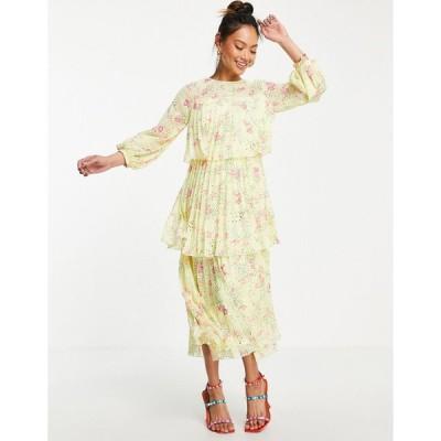 エイソス ミディドレス レディース ASOS DESIGN pleated tiered midi dress with open back in yellow based ditsy floral print エイソス ASOS イエロー 黄
