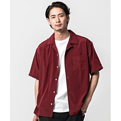 (CavariA/キャバリア)CavariA【キャバリア】ポリエステルオープンカラー半袖ビッグシャツ/メンズ ワイン