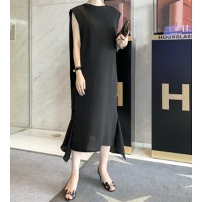 40代のファッションレディース ワンピース ロング韓国 ファッション レディース シンプルブラックワンピース ノースリーブ 裾ふんわり き