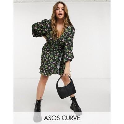 エイソス レディース ワンピース トップス ASOS DESIGN Curve mini wrap dress with balloon sleeves in dark based floral