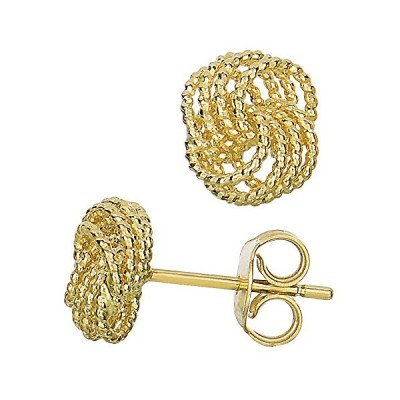 14k イエロー ゴールド ツイスト ケーブル 4 ライン ラブ Knot Type スタッド Earrings, 9 x 8mm(海外取寄せ品)