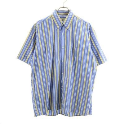 メール便可 ストライプ シャツ 3 BRUNO VALENTI PER UOMO 半袖ブルー×イエロー メンズ 200220