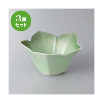 3個セット☆ 小鉢 ☆緑彩花型小鉢 [ 11.2 x 5.7cm ] 【 料亭 旅館 和食器 飲食店 業務用 】