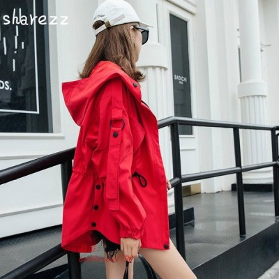 Sharezz 2019 sopring 秋ファッションショートウインドブレーカー女性ルースカジュアル casaco feminino BF フード付きトレンチコート 女性 グループ上 レデ