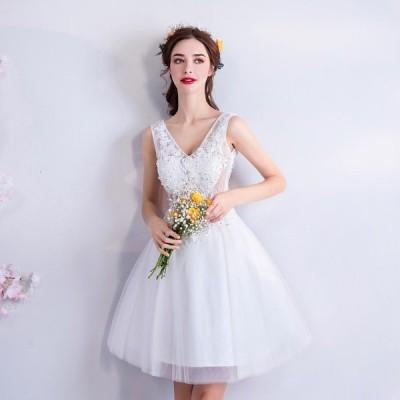 ウェディングドレス ミニ 結婚式 ミニドレス 白 安い ウエディング 発表会 パーティードレス 二次会 花嫁 コンサート 大きいサイズ おしゃれ wedding
