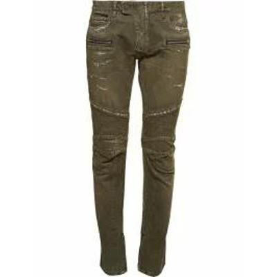 Balmain メンズデニム Balmain Distressed Biker Jeans Verde chiaro