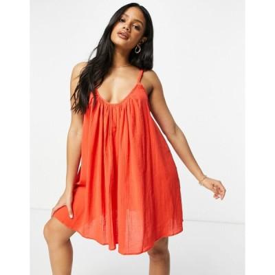 エイソス ビーチドレス レディース ASOS DESIGN plait strap easy beach sundress in cherry red エイソス ASOS レッド 赤