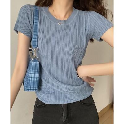 tシャツ Tシャツ リブ半袖Tシャツ