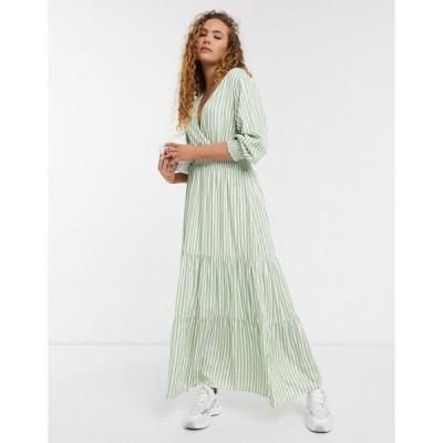 セレクテッド マキシドレス レディース Selected Femme maxi smock dress in green and white stripe エイソス ASOS マルチカラー