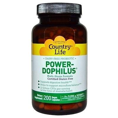 カントリーライフ, グルテンフリー, パワードフィルス(Power-Dophilus), 200粒(ベーガンカプセル)
