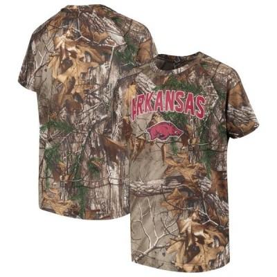 キッズ スポーツリーグ アメリカ大学スポーツ Arkansas Razorbacks Colosseum Youth Buckshot Camo Raglan Short Sleeve T-Shirt - Camo