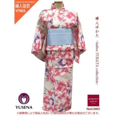 浴衣 女性 レディース ゆかた Lサイズ 浴衣単品販売 平織り ホワイト 花柄 Yukata for women