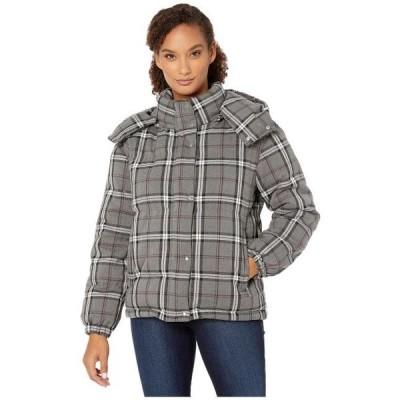 ヴィンスカムート レディース アウターウェア コート/アウター Large Bold Plaid Hooded Puffer Jacket