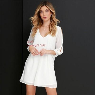 2019 新 カジュアル V ドレス ファッション ソリッド カラー ドレス 3 4 女性 エレガント な ビーチ Vestidos 女性 ブラ ック ホワイト グループ上 レディー