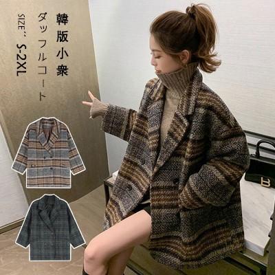 チェックの毛織コート女性秋冬ゆったりとした厚手のラシャコートです
