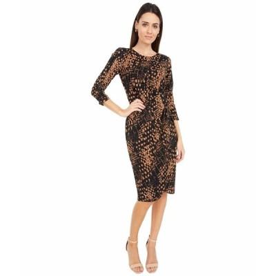 タハリ ワンピース トップス レディース Stretch Printed Ikat Dress with Side Knot Detail Black Camel Ikat