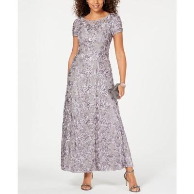 アレックスイブニングス ワンピース トップス レディース Petite Rosette Lace A-Line Gown Dove Gray