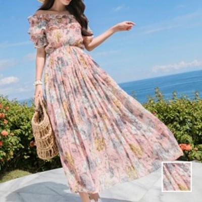 リゾートワンピース ワンピース リゾート 韓国 ファッション  春 夏 カジュアル naloI575  シアー フレアトップ プリーツ エレガント リ