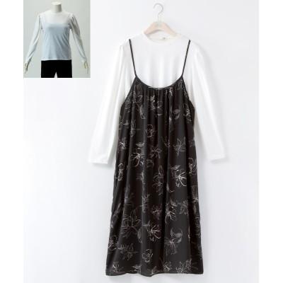 大きいサイズ 2点セット(キャミワンピ+プルオーバー) ,スマイルランド, ワンピース, plus size dress