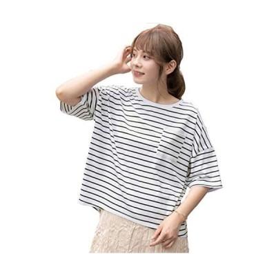 [アドティエ] ポケット付きTシャツ ゆったりサイズ 綿100% クルーネック ラウンドヘム カラバリ豊富 (ボーダー Free Size)