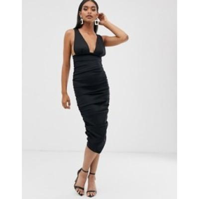 エイソス レディース ワンピース トップス ASOS DESIGN Plunge midi dress with ruching detail Black