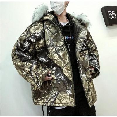 ジャケット 上着 ショート丈 コート メンズ 中綿 アウター 防寒 防風 OL 通勤 暖かい ファスナー カジュアル フード付き 学生 通学 ファー付き