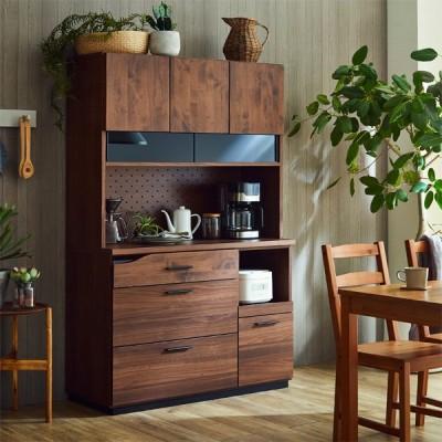 食器棚 105 キッチンボード 完成品 レンジボード 国産 開き戸 レンジ台 コンセント付 可動棚付 スライドカウンター付 木製 カップボード ブラウン 幅105cm 高さ1