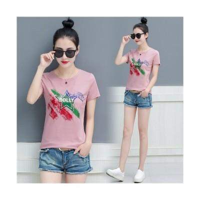 レディース 韓風 トップス カットソー Tシャツ 細身 半袖 夏 ピンク ホワイト ブラック  大きいサイズ ゆったり ゆとり