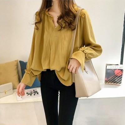 シャツ ブラウス 大きいサイズ 女性長袖 Vネックシャツ 韓国風 女性 体型カバー ゆったり コットンリネンシャツ